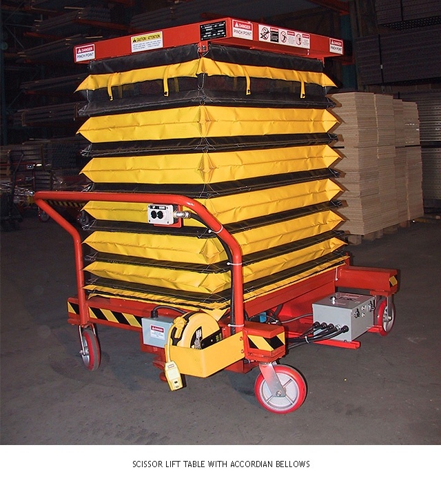 Scissor Lift Table with Accordian Bellows