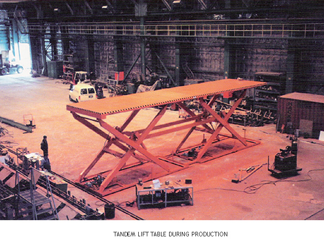 Tandem Lift Table During Production